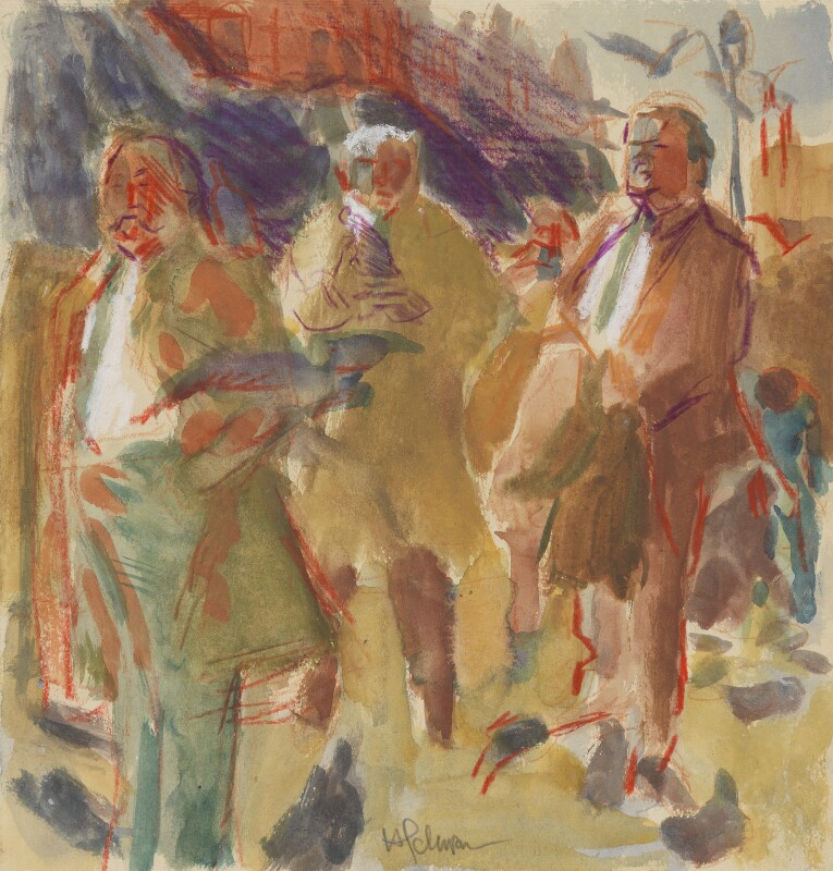 Trade Unionists (sketch) (Joe Gormley; Thomas Jackson; Sidney Weighell), by Hans Schwarz, 1984 - NPG 5793(5) - © National Portrait Gallery, London