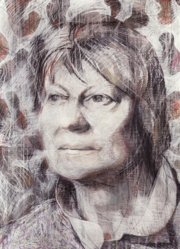 Iris Murdoch, by Tom Phillips, 1986 - NPG 5944(4) - © DACS / Tom Phillips 2017