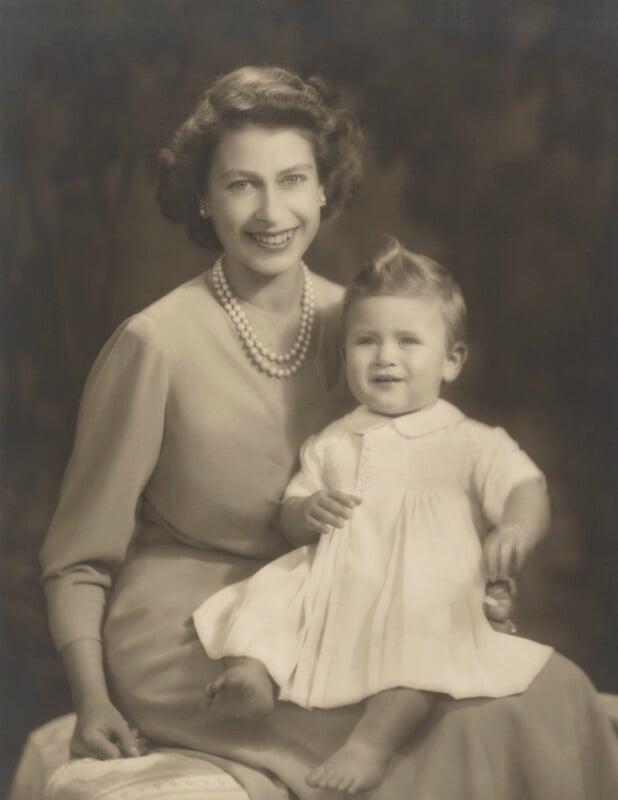 Queen Elizabeth II; Prince Charles, by Marcus Adams, 26 October 1949 - NPG P140(23) - © estate of Marcus Adams / Camera Press