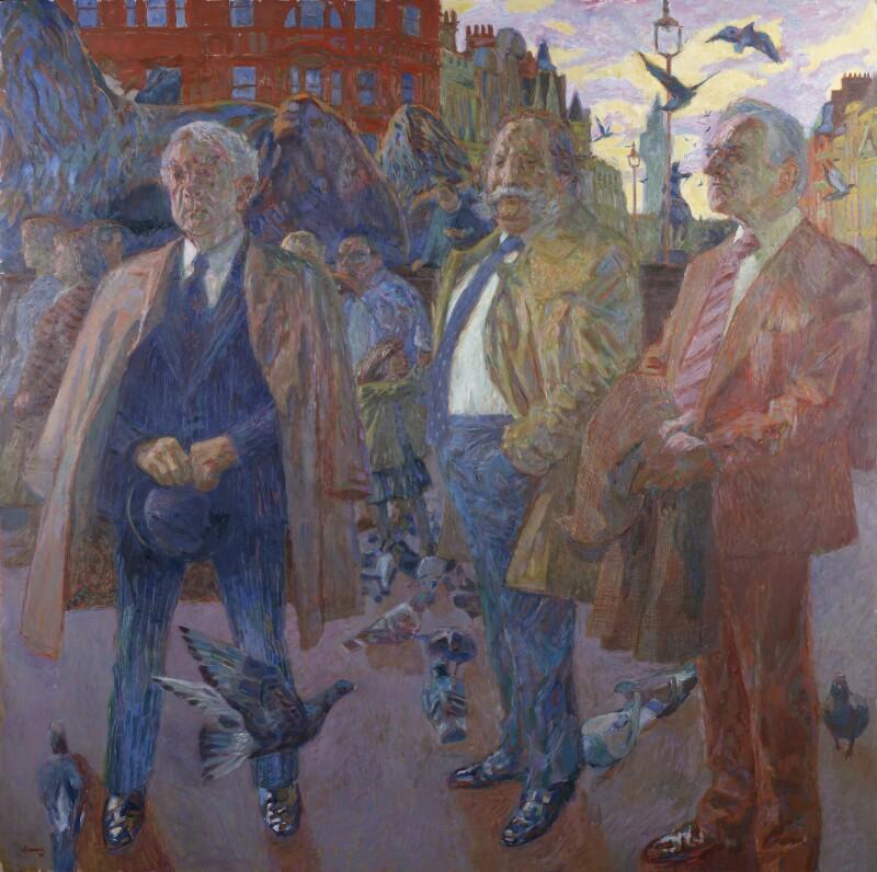Trade Unionists (Joe Gormley; Thomas Jackson; Sidney Weighell), by Hans Schwarz, 1984 - NPG 5749 - © National Portrait Gallery, London