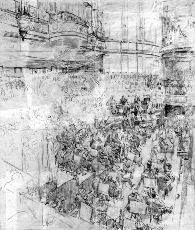 Sir Thomas Beecham Conducting 'A Mass of Life' at the Queen's Hall, 1929, by Ernest Procter, 1929 - NPG 6108 - © National Portrait Gallery, London