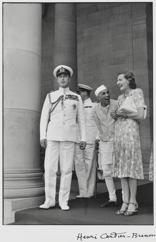 Louis Mountbatten, Earl Mountbatten of Burma; Jawaharlal Nehru; Edwina Cynthia Annette, Countess Mountbatten of Burma, by Henri Cartier-Bresson, 1948 - NPG P434 - © Henri Cartier-Bresson / Magnum Photos