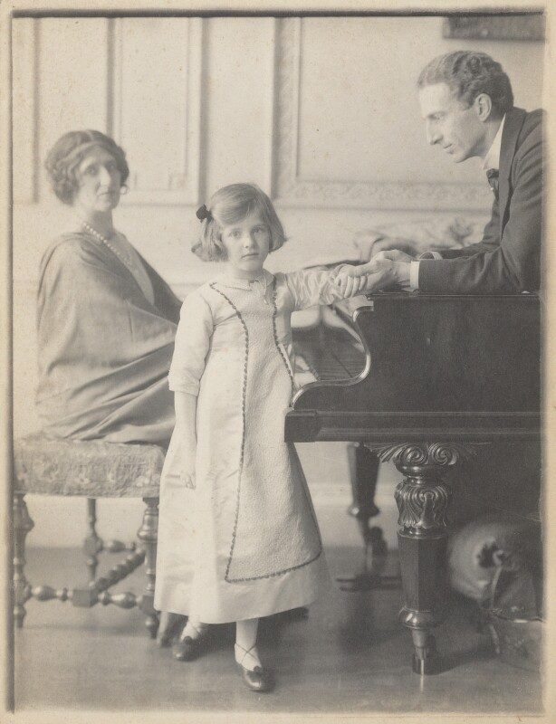 Lady Ottoline Morrell, with Philip Edward Morrell and their daughter, Julian Vinogradoff (née Morrell), by Cavendish Morton, circa 1911 - NPG P480 - © National Portrait Gallery, London