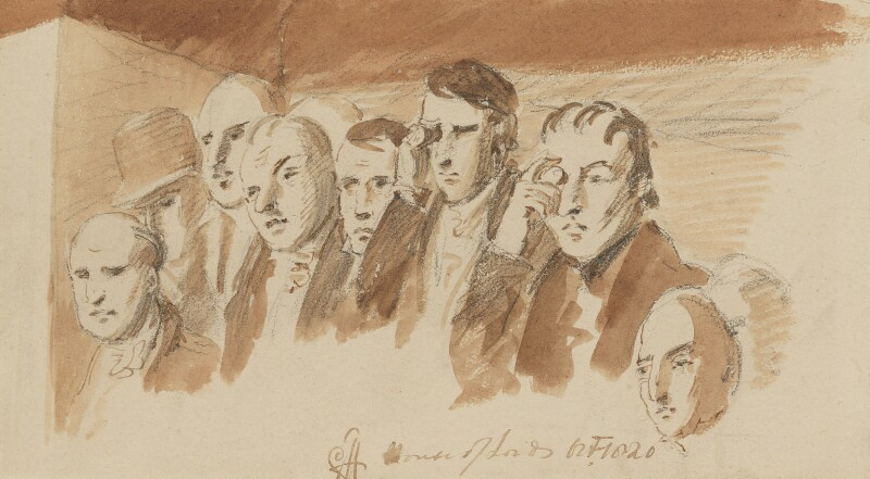 Group of eight unknown sitters for the right niche, by Sir George Hayter, 1820 - NPG 1695(x) - © National Portrait Gallery, London