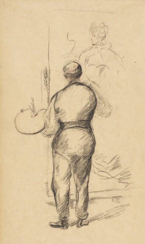 Back view of an unknown artist painting portrait of a woman, by Henry Tonks, 1900-1925 - NPG 3072(2) - © National Portrait Gallery, London