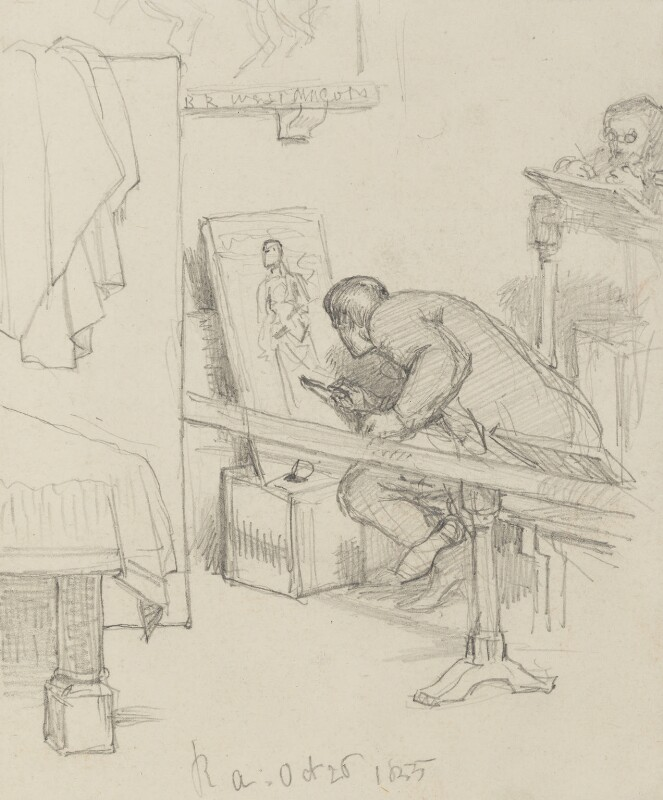 Two unknown art students at work, by Charles West Cope, 1855 - NPG 3182(17) - © National Portrait Gallery, London
