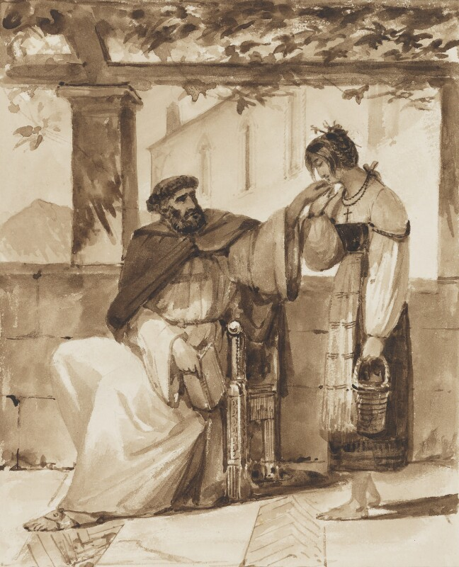 Monk with Neapolitan woman, possibly by Thomas Uwins, 1825 - NPG 3944(10) - © National Portrait Gallery, London