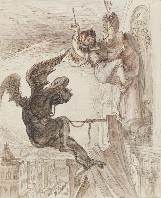 Artist saved from the Devil, by Unknown artist, 1825 - NPG 3944(13) - © National Portrait Gallery, London