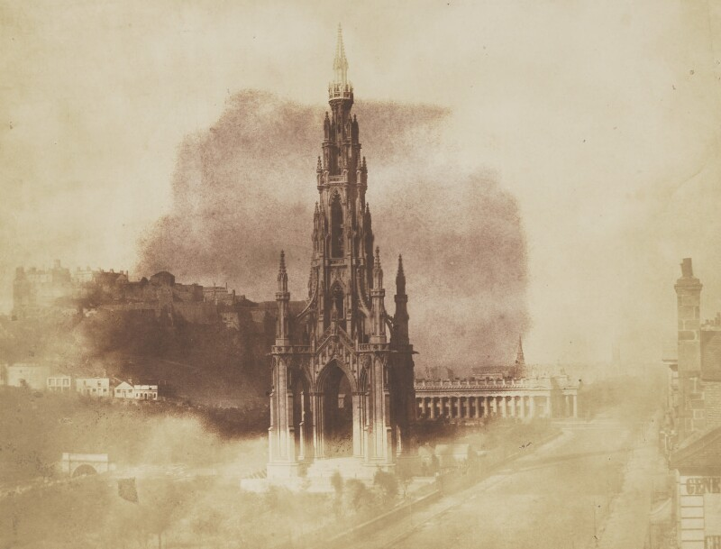The Scott Monument, with the Scottish National Gallery and Edinburgh Castle in the background, by David Octavius Hill, and  Robert Adamson, 1843-1848 - NPG P6(255) - © National Portrait Gallery, London