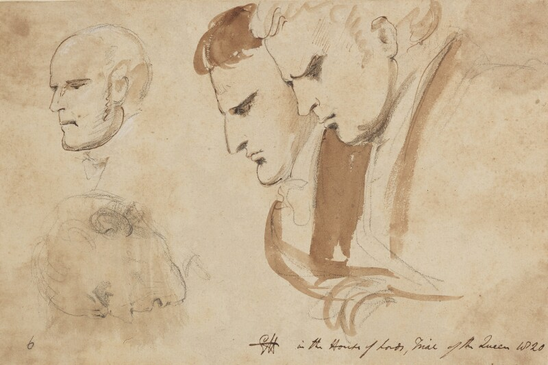 Four heads, by Sir George Hayter, 1820 - NPG 2662(15) - © National Portrait Gallery, London