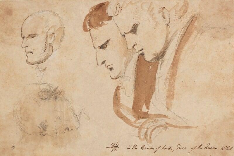 Four heads, by Sir George Hayter, 1820 - NPG 2662(15) - © National Portrait Gallery, London