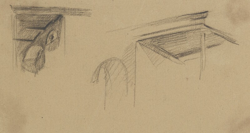 Architectural features, left gallery, by Sir George Hayter, circa 1820 - NPG 2662(33) - © National Portrait Gallery, London