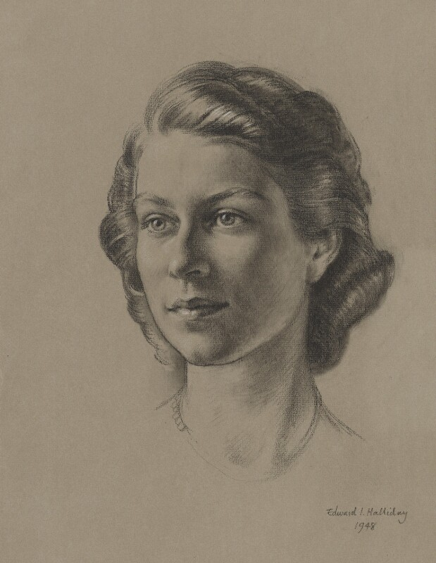 Queen Elizabeth II, by Edward Irvine Halliday, 1948 - NPG 6238 - © estate of Edward Irvine Halliday / National Portrait Gallery, London