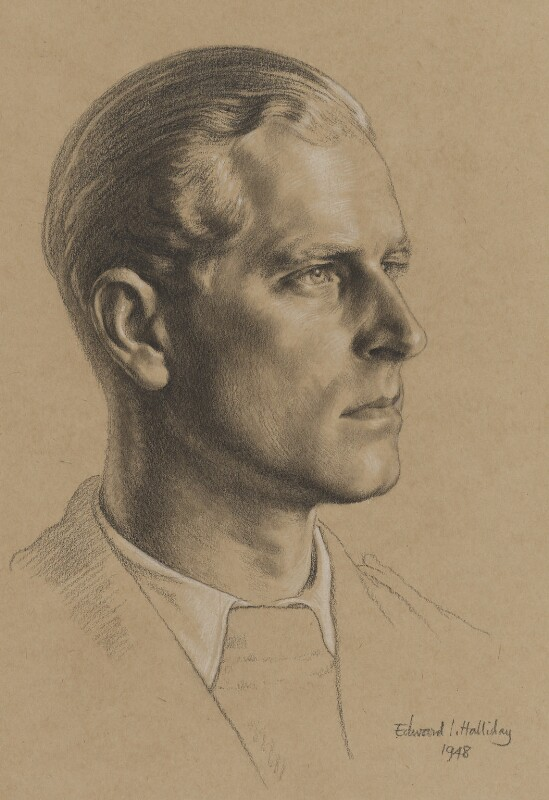 Prince Philip, Duke of Edinburgh, by Edward Irvine Halliday, 1948 - NPG 6239 - © estate of Edward Irvine Halliday / National Portrait Gallery, London