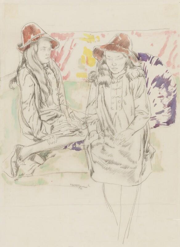 Elsie Queen Nicholson (née Myers); Eveleen ('Eve') Clarke (née Myers), by Frank Owen Dobson, 1919 - NPG 6314 - © National Portrait Gallery, London