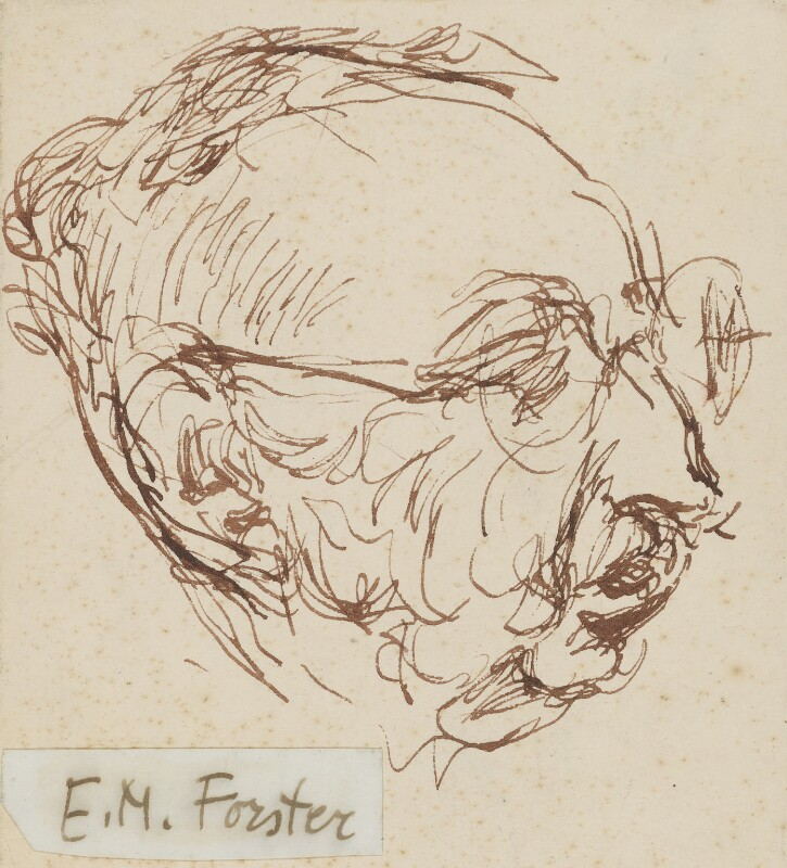 E.M. Forster, by Feliks Topolski, circa 1960 - NPG 6326 - © estate of Feliks Topolski
