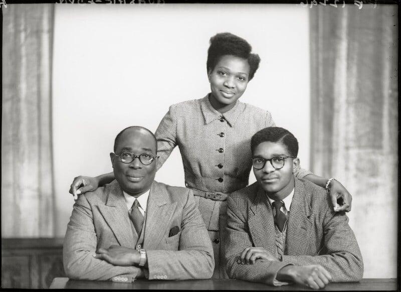 Sir Samuel Okai Quashie-Idun; Frances Quashie-Idun; Charles Amoah, by Elliott & Fry, 1950 - NPG x99203 - © National Portrait Gallery, London