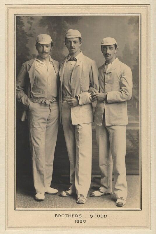 Sir (John Edward) Kynaston Studd, 1st Bt; Charles Thomas Studd; George Brown Studd, by Elliott & Fry, 1880 - NPG x127484 - © National Portrait Gallery, London