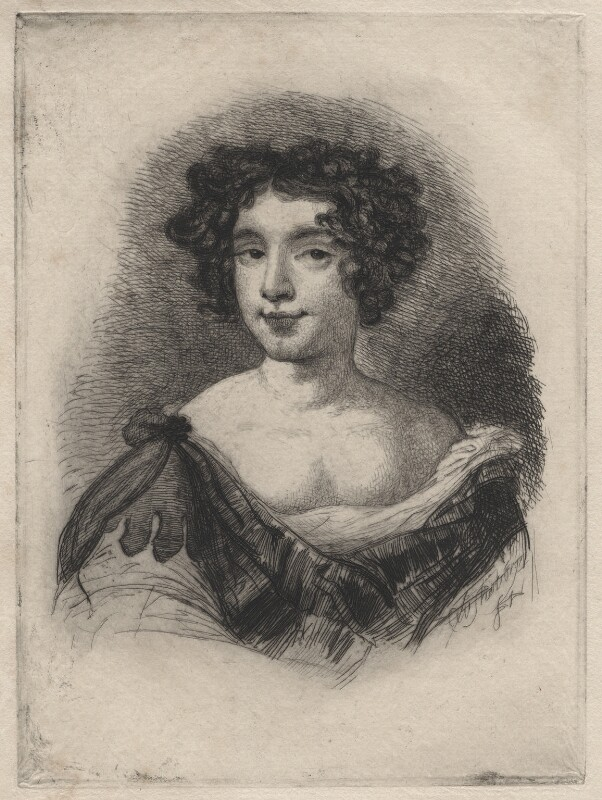 Catherine Sedley, Countess of Dorchester engraved as Nell Gwyn, by Charles William Sherborn, after studio of  Sir Peter Lely, 1884 - NPG D21196 - © National Portrait Gallery, London