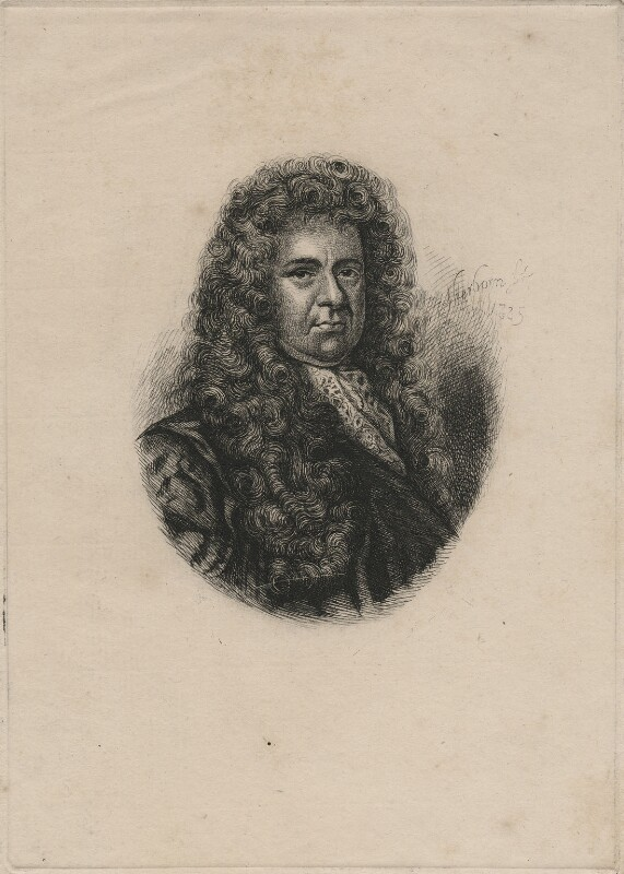Samuel Pepys, by Charles William Sherborn, after  Sir Godfrey Kneller, Bt, 1885 - NPG D21199 - © National Portrait Gallery, London