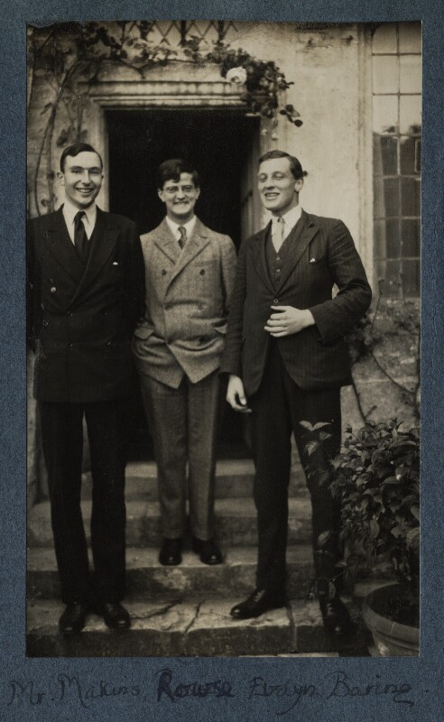 Roger Mellor Makins, 1st Baron Sherfield; Alfred Leslie Rowse; (Charles) Evelyn Baring, 1st Baron Howick of Glendale, by Lady Ottoline Morrell, June 1926 - NPG Ax142572 - © National Portrait Gallery, London