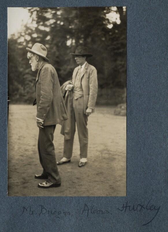 Robert Bridges; Aldous Huxley, by Lady Ottoline Morrell, 26 June 1926 - NPG Ax142579 - © National Portrait Gallery, London