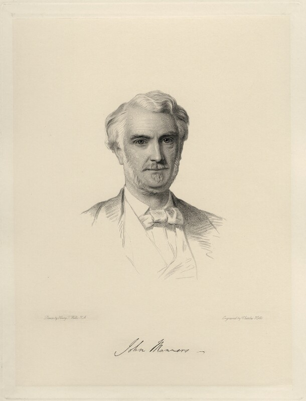 John James Robert Manners, 7th Duke of Rutland, by Charles Holl, after  Henry Tanworth Wells, (1872) - NPG D20712 - © National Portrait Gallery, London