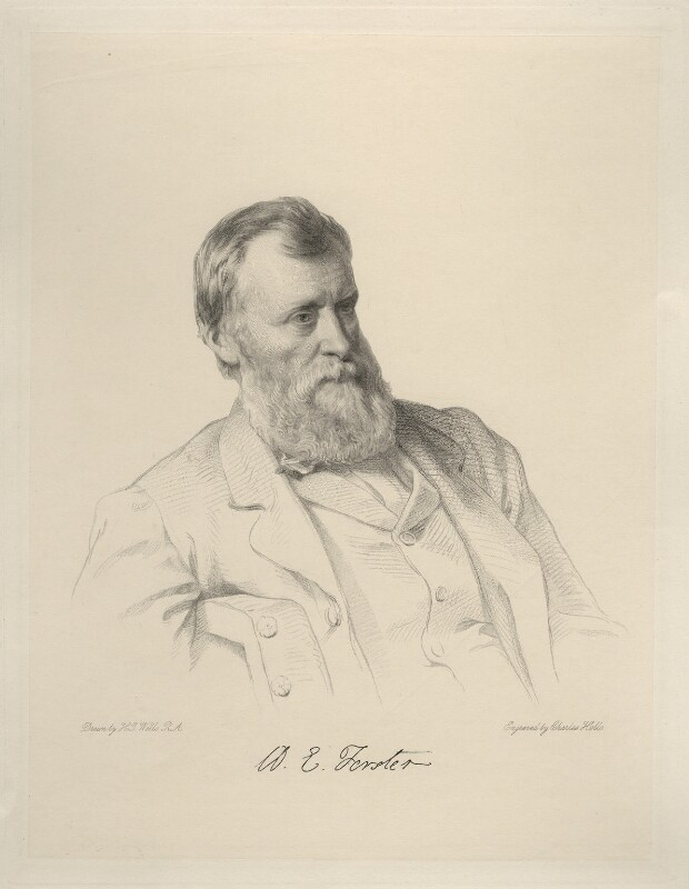 William Edward Forster, by Charles Holl, after  Henry Tanworth Wells, 1871 or after - NPG D20717 - © National Portrait Gallery, London