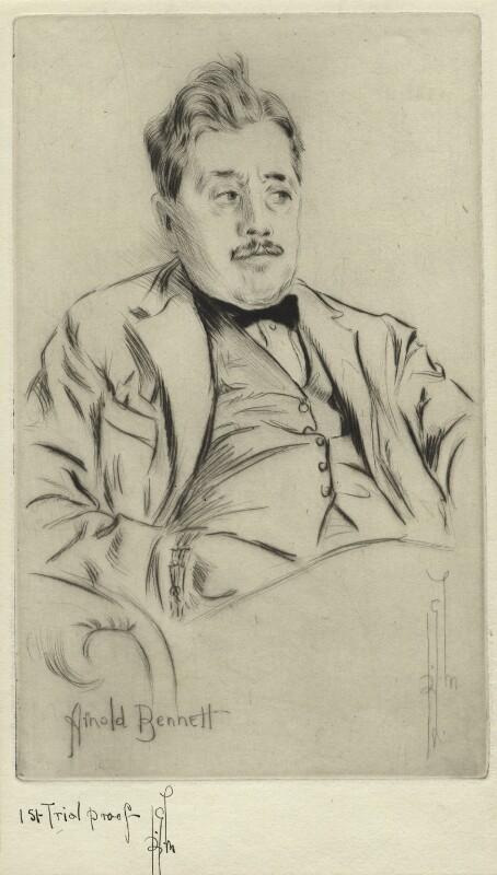 Arnold Bennett, by Richard George Mathews, circa 1920 - NPG D21218 - © estate of Richard George Mathews / National Portrait Gallery, London