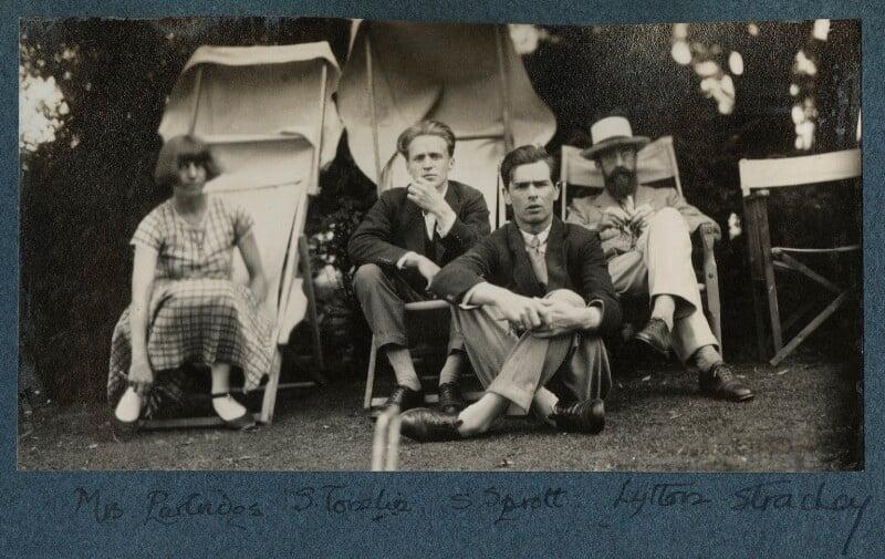 Dora Carrington; Stephen Tomlin; Walter John Herbert ('Sebastian') Sprott; Lytton Strachey, by Lady Ottoline Morrell, June 1926 - NPG Ax142600 - © National Portrait Gallery, London