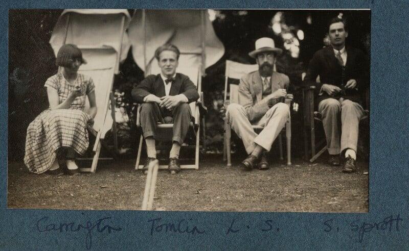 Dora Carrington; Stephen Tomlin; Lytton Strachey; Walter John Herbert ('Sebastian') Sprott, by Lady Ottoline Morrell, June 1926 - NPG Ax142601 - © National Portrait Gallery, London