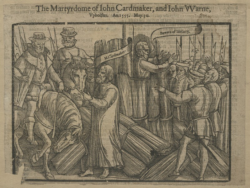 The Martyrdome of John Cardmaker and John Warne (John Cardmaker; John Warne (Warren)), after Unknown artist, published 1563 or after - NPG D21250 - © National Portrait Gallery, London