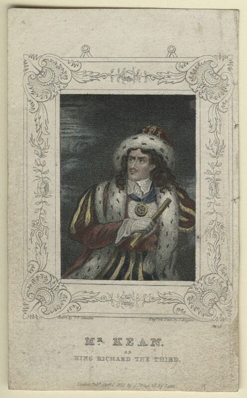 Edmund Kean as Richard III, by John Rogers, published by  George Virtue, after  T.O. Steeden, published 1 January 1825 - NPG D21264 - © National Portrait Gallery, London