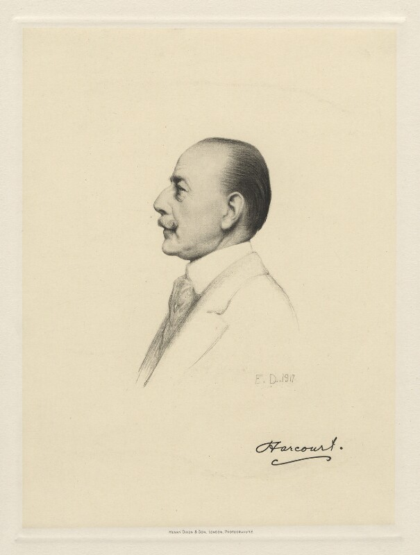 Lewis Harcourt, 1st Viscount Harcourt, by Henry Dixon & Son, after  Sir Francis Bernard ('Frank') Dicksee, (1917) - NPG D20800 - © National Portrait Gallery, London