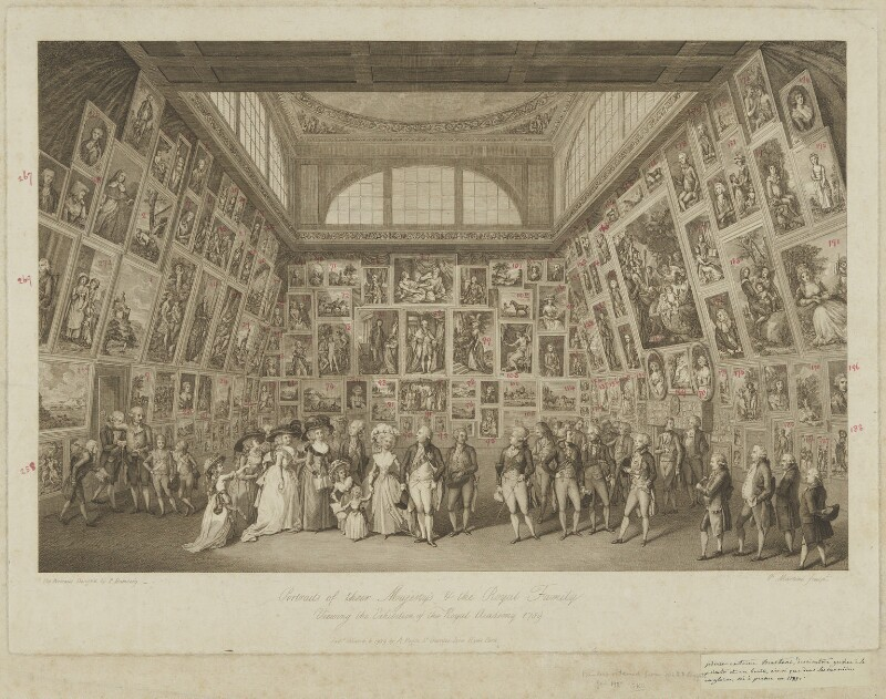Portraits of their Majesty's & the Royal Family Viewing the Exhibition of the Royal Academy 1789, by Pietro Antonio Martini, after  Johann Heinrich Ramberg, published 1789 - NPG D21303 - © National Portrait Gallery, London
