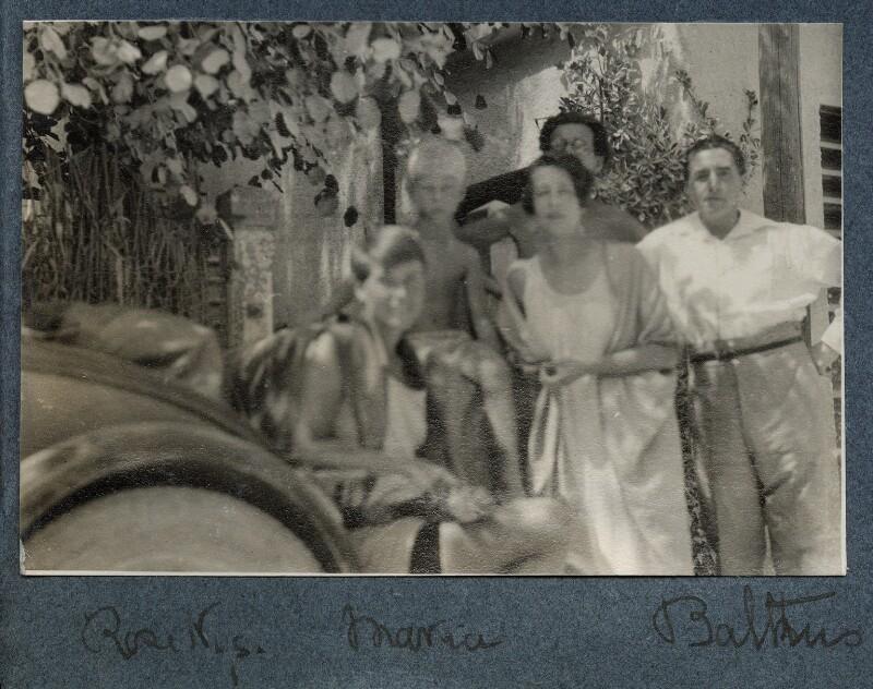 Rose Nys; Matthew Huxley; Maria Huxley (née Nys); Aldous Huxley; Georges-Marie Baltus, by Lady Ottoline Morrell, 1927 - NPG Ax142901 - © National Portrait Gallery, London