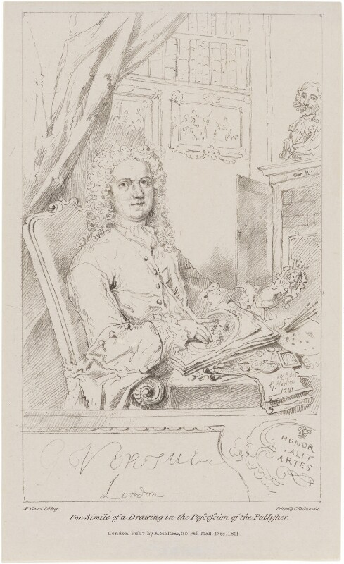 George Vertue, by Maxim Gauci, printed by  Charles Joseph Hullmandel, published by  Anthony Molteno, after  George Vertue, published December 1821 (1741) - NPG D21325 - © National Portrait Gallery, London