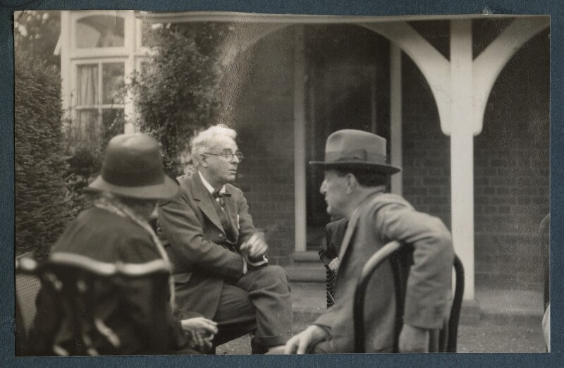 W.B. Yeats; Walter de la Mare, by Lady Ottoline Morrell, Summer 1930 - NPG Ax143156 - © National Portrait Gallery, London