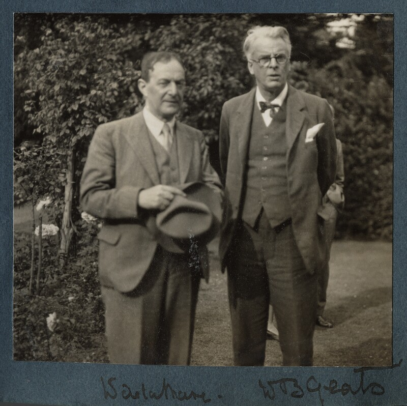 Walter de la Mare; W.B. Yeats, by Lady Ottoline Morrell, Summer 1930 - NPG Ax143162 - © National Portrait Gallery, London