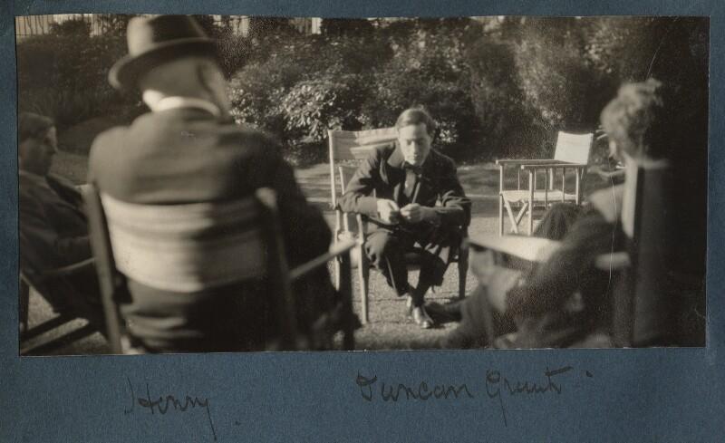 Gilbert Spencer; Lord Henry Cavendish-Bentinck; Duncan Grant; Raymond Mortimer, by Lady Ottoline Morrell, 1930 - NPG Ax143163 - © National Portrait Gallery, London
