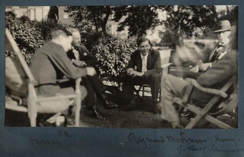 Duncan Grant; Philip Edward Morrell; Raymond Mortimer; Lord Henry Cavendish-Bentinck; Gilbert Spencer, by Lady Ottoline Morrell, 1930 - NPG Ax143164 - © National Portrait Gallery, London