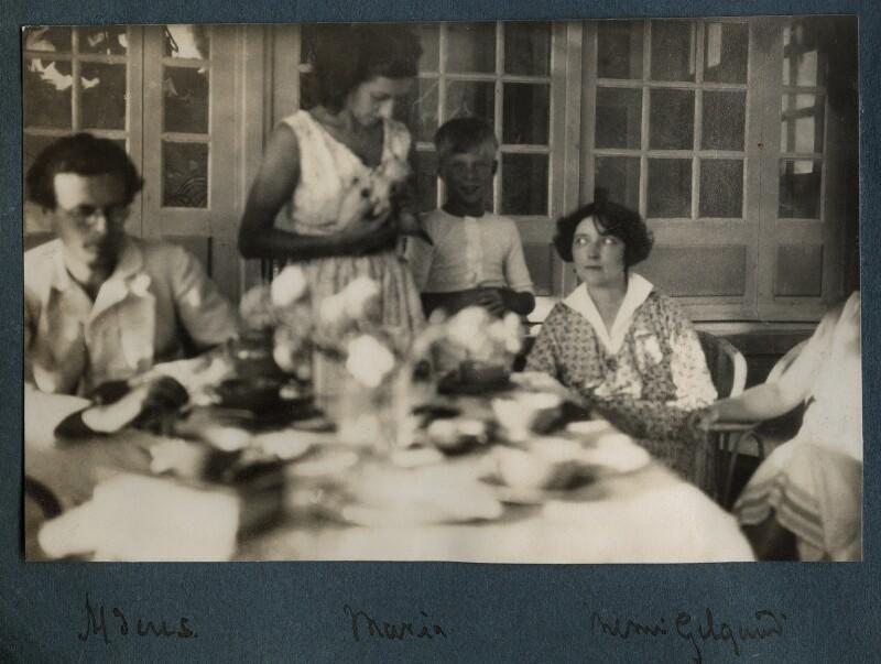 Aldous Huxley; Maria Huxley (née Nys); Matthew Huxley; Mimi Gielgud, by Lady Ottoline Morrell, August 1930 - NPG Ax143186 - © National Portrait Gallery, London