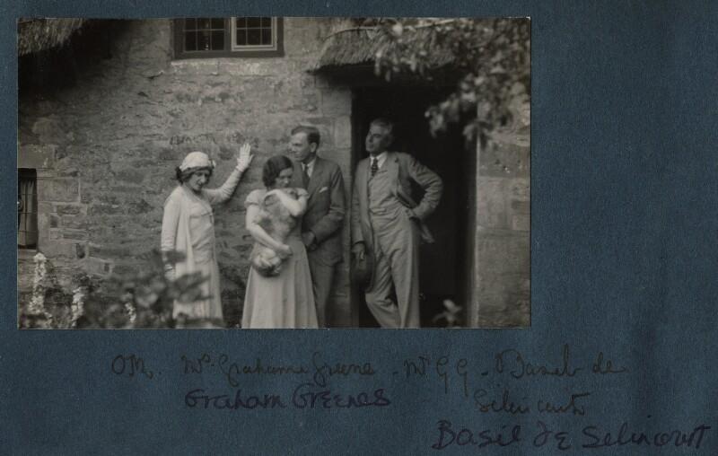 Lady Ottoline Morrell; Vivienne ('Vivien') Greene (née Dayrell-Browning); Graham Greene; Basil de Selincourt, possibly by Philip Edward Morrell, 23 October 1930 - NPG Ax143292 - © National Portrait Gallery, London