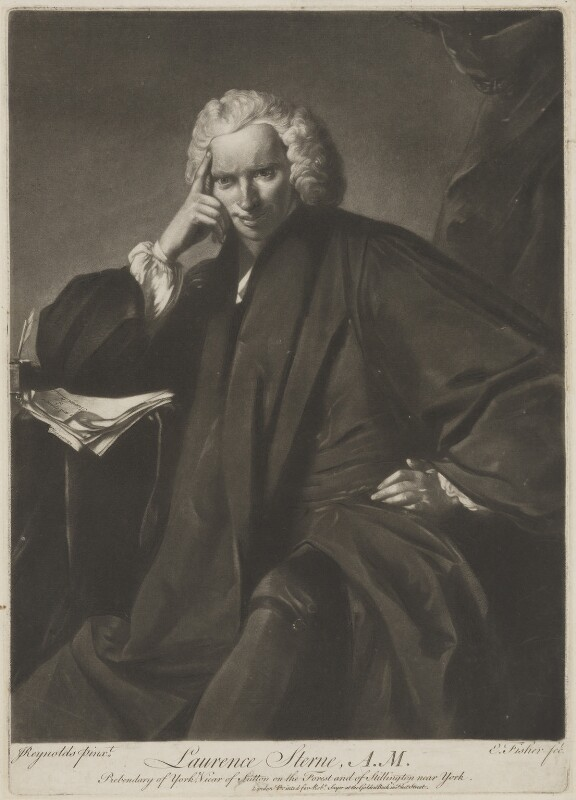 Laurence Sterne, by Edward Fisher, printed for  Robert Sayer, after  Sir Joshua Reynolds, (1760) - NPG D21363 - © National Portrait Gallery, London