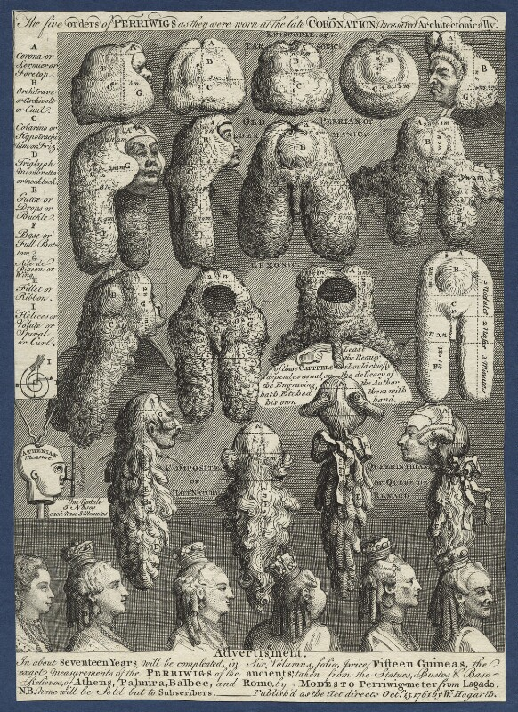 'The Five Orders of Perriwigs', by William Hogarth, published 1761 - NPG D21370 - © National Portrait Gallery, London
