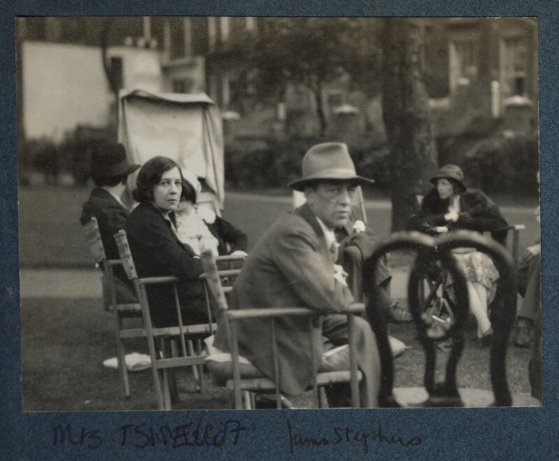 Group including James Stephens; Vivien and T.S. Eliot and Lady Huxley, by Lady Ottoline Morrell, 1931 - NPG Ax143430 - © National Portrait Gallery, London