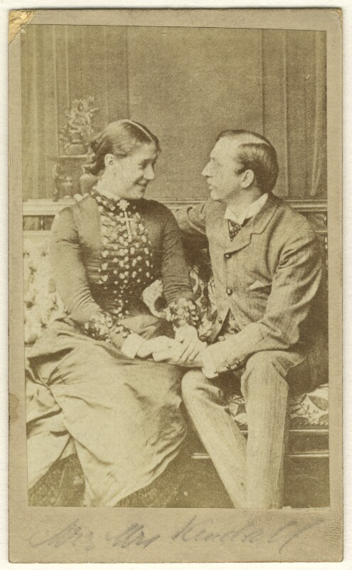Madge Kendal as Dora; William Hunter Kendal (William Hunter Grimston) as Captain Beauclerc in 'Diplomacy', by Window & Grove, 1878 - NPG Ax25048 - © National Portrait Gallery, London