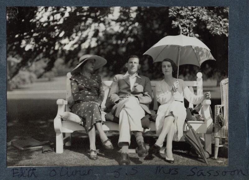 Edith Olivier; Siegfried Sassoon; Hester Sassoon (née Gatty), by Lady Ottoline Morrell, 1934 - NPG Ax143666 - © National Portrait Gallery, London