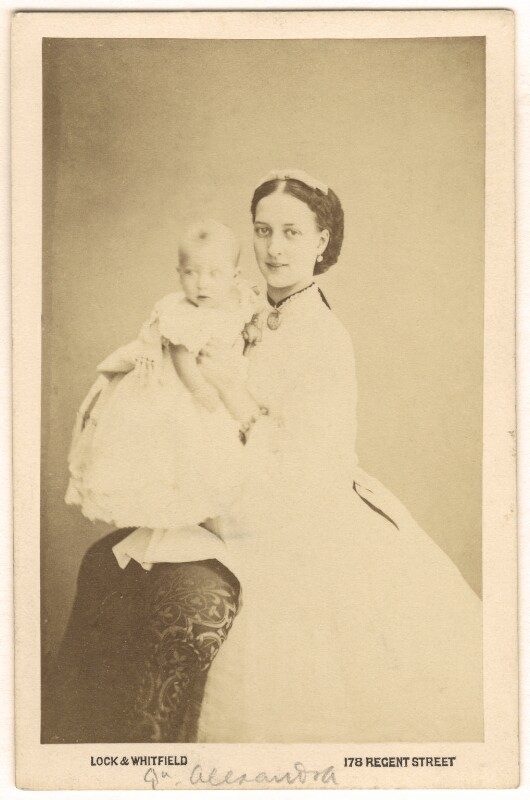 Prince Albert Victor, Duke of Clarence and Avondale; Queen Alexandra, by Lock & Whitfield, 1864 - NPG Ax24178 - © National Portrait Gallery, London