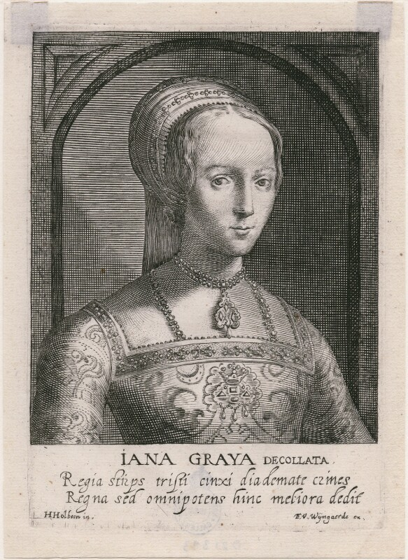 Lady Jane Grey, by Magdalena de Passe, by  Willem de Passe, published by  Frans van den Wyngaerde (Wijngaerde), after  Hans Holbein the Younger, 1620 - NPG D21393 - © National Portrait Gallery, London